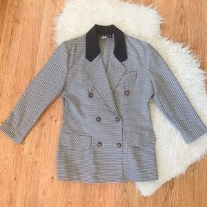 Vintage 80s Power Blazer Houndstooth Medium